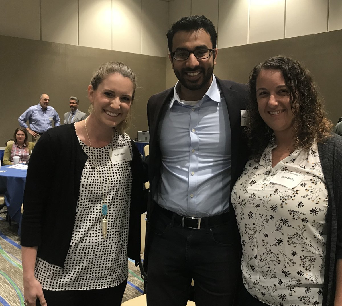 """LBJ Class of 2016 alumni Claire Boyer, Imaad Khan and Jamie Klein attending the """"Rebuilding After Hurricane Harvey: A Texas Tribune Symposium"""""""