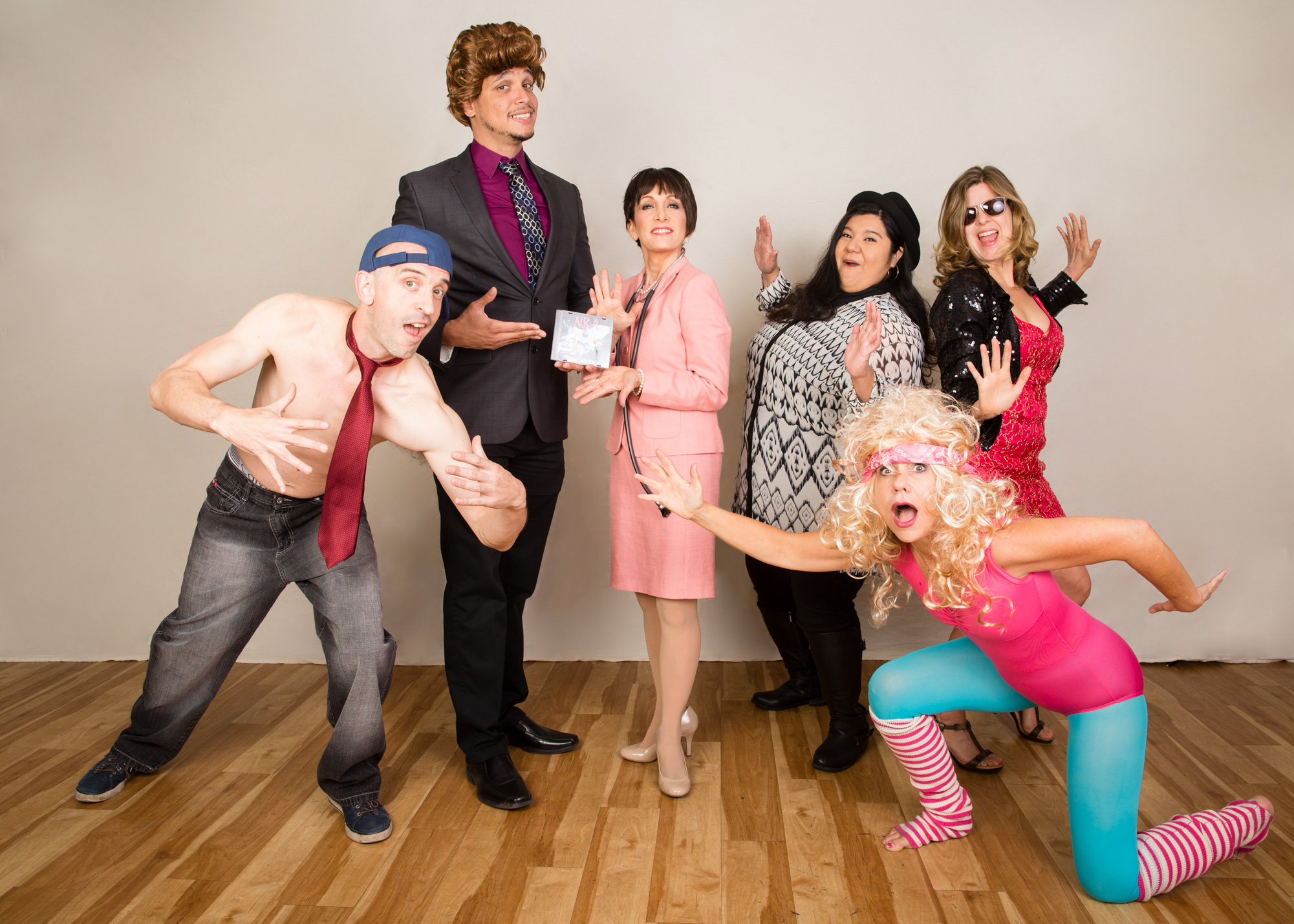 """Cast photo of political satire comedy variety show """"Over the Lege,"""" directed by Stephanie Chiarello Noppenberg (MPAff '08)"""
