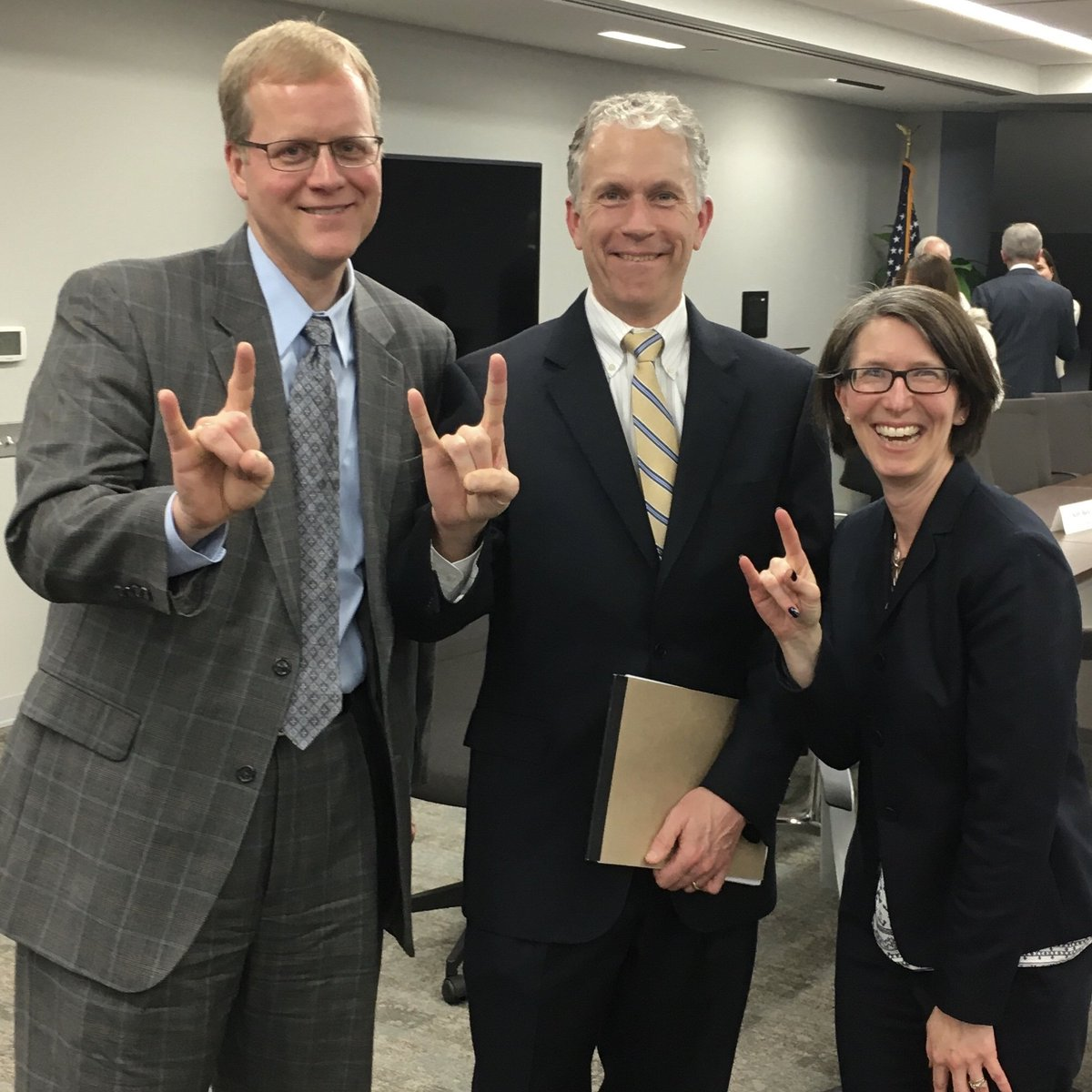 Brent Riddle (MPAff '98), Wyatt Shields (MPAff '98) and Wendy Block Sanford (MPAff '01) at a regional transportation meeting in Northern Virginia