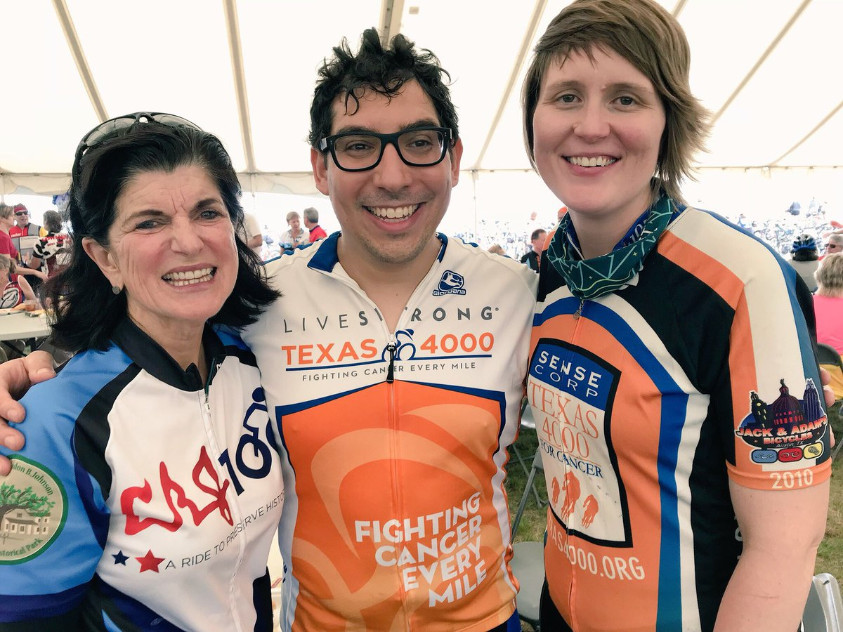 Luci Baines Johnson with LBJ Class of '14 alums Keith Salas and Kathryn Flowers at the LBJ 100 Bicycle Tour