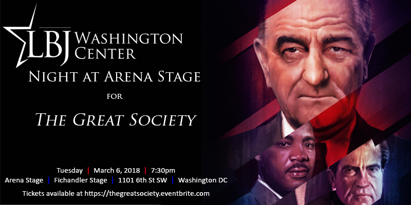 """LBJ Washington Center Night at Arena Stage Theater for \""""The Great Society\"""" March 8 2018. Washington DC"""